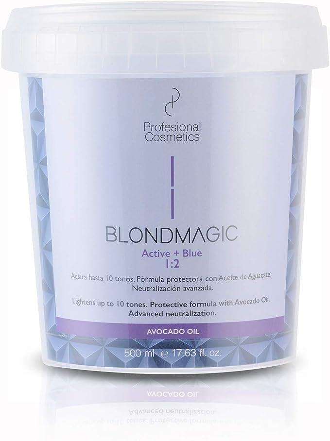 Profesional Cosmetics Blondmagic Active + Blue - Decolorante para el pelo, 500 ml