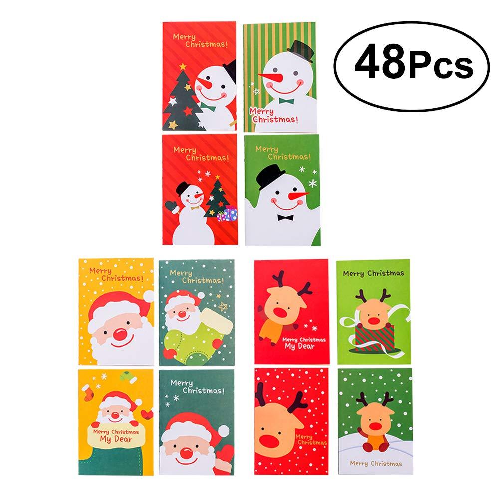 TOYMYTOY Mini Christmas Notepads Pocket Notebooks for Kids Adults Festival Christmas Party Supplies, 48pcs (16pcs Santa Claus+16pcs Christmas Snowman+16pcs Christmas Deer)