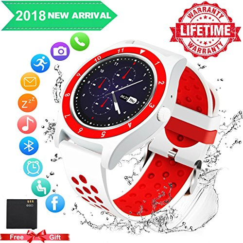 Bluetooth Smart Watch for Android Phones,2018 Smartwatch Android Phone Watch Waterproof Smart Watches Touchscreen with Camera Compatible Android Samsung iOS iPhone X 8 7 6S Plus for Men Women by Luckymore