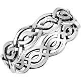 Sterling Silver Wicca Weave Celtic Ring (Sizes 3-15)