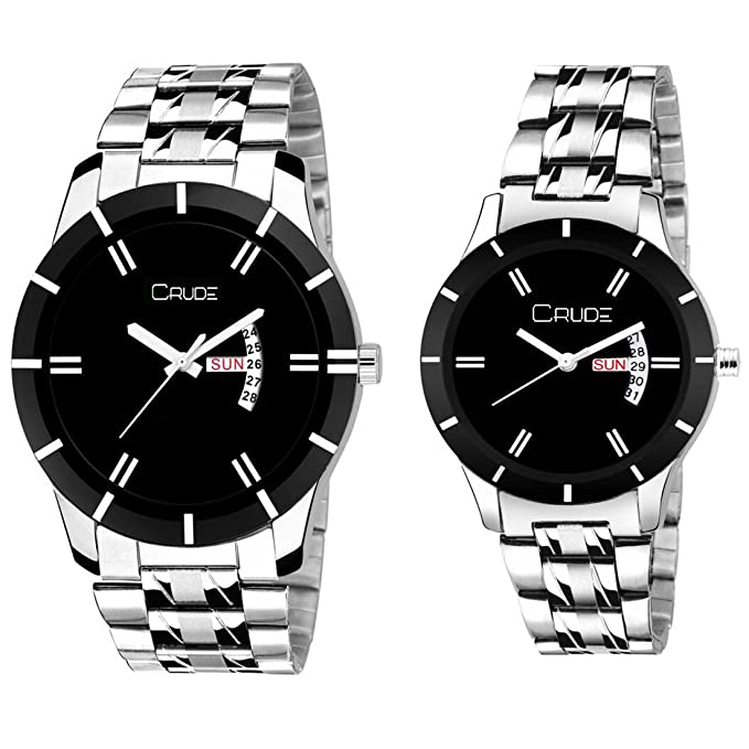 Analogue Beautiful Black Dial Day and Date Stainless Steel Couple's Watches Combo