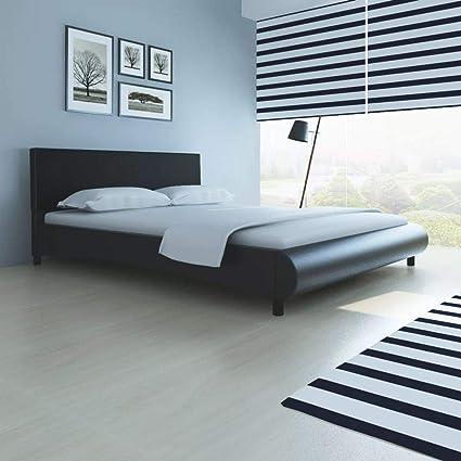 Fesjoy Plataforma tapizada en imitación de Cuero Negra Moderna, tamaño Queen, con listón y