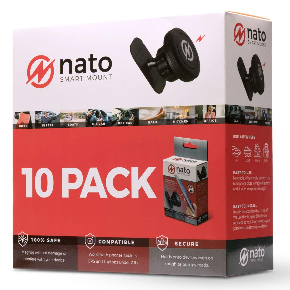 Nato Smart Mount - Magnetic Smart Device Holder Universal Adhesive (Black 10-Pack)