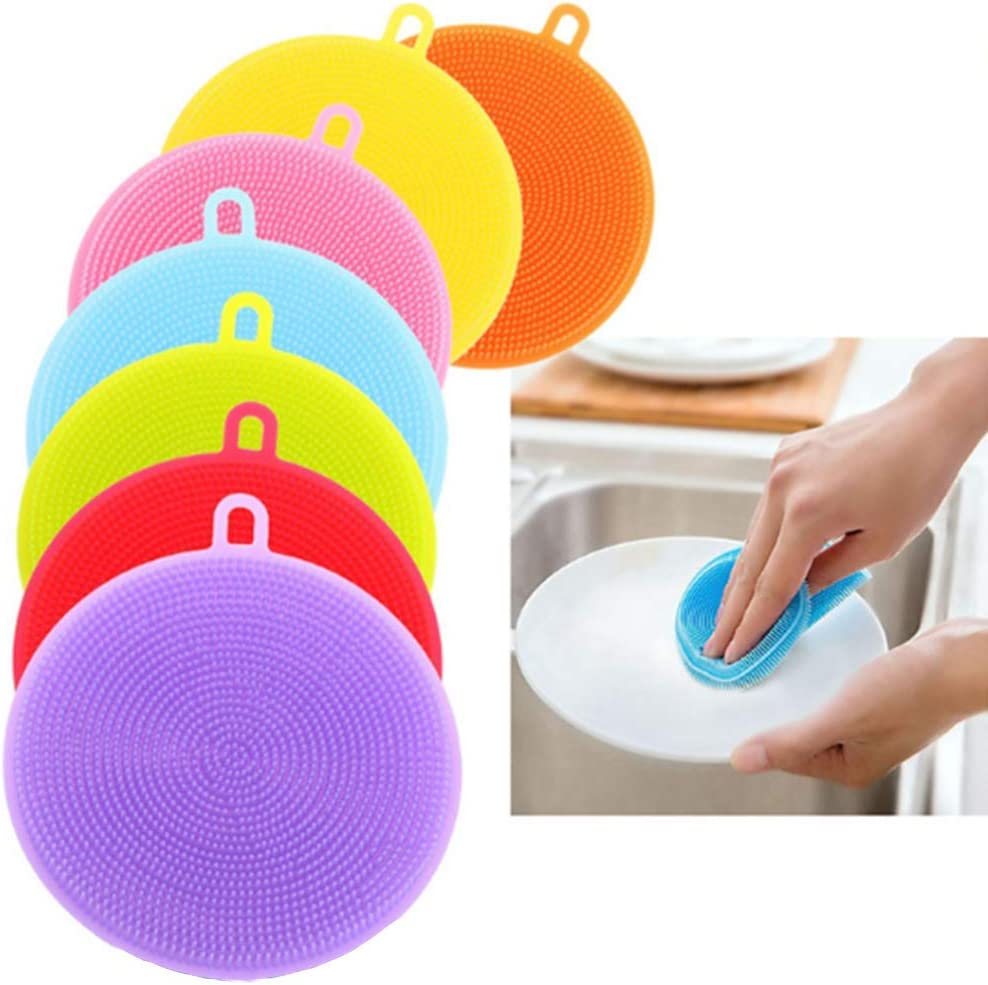 Sxqipeng 8PCS Food-Grade Silicone Sponge Dish Washing Kitchen Scrubber,Dish Scrub, Multipurpose Household Cleansing Tools for Dish Pan Pot Vegetable Fruits Heat Resistant Pads
