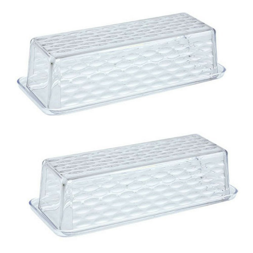 Textured Plastic Butter Dish with Lid (Pack of 2)