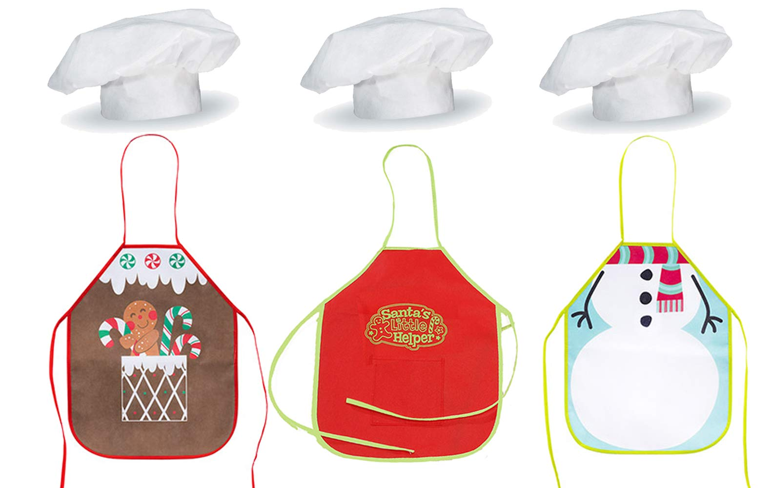 LightShine Products 3 Sets Kids Christmas Gingerbread & Elf Aprons with Chef Hats Bundle for Gingerbread House Crafting Christmas Cookie Decorating or Holiday Baking (6 Pieces) by LightShine Products