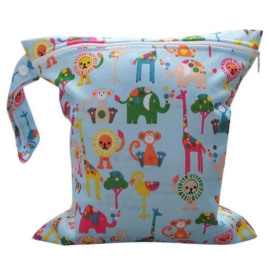 VVLOVE 2 cremalleras lavables pañales pañales pañales pañales bolso elefante patrón pañales Elephant Pattern Talla:30.5CM*30CM