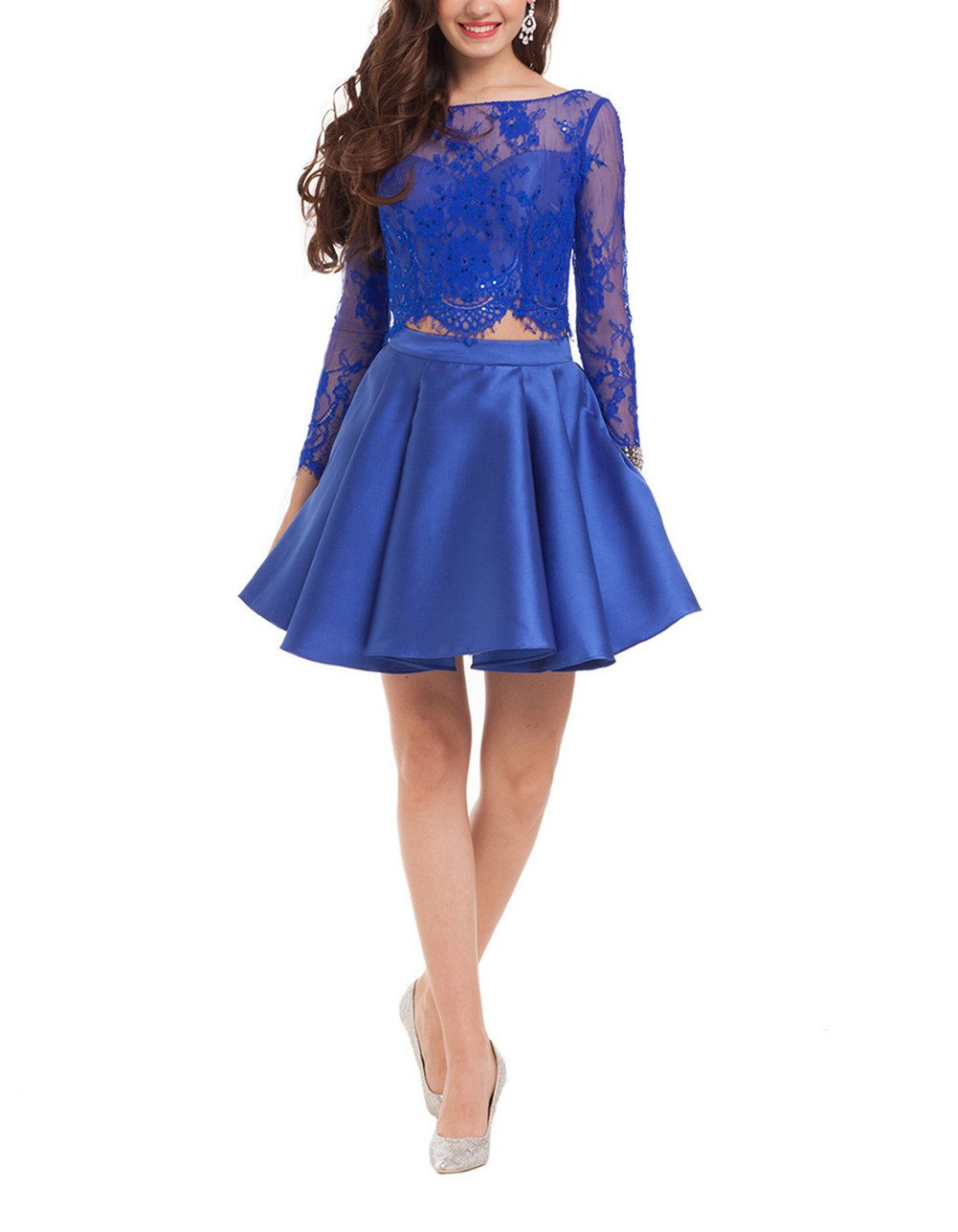 TDress Two Pieces Satin and Lace Short Prom Homecoming Dresses Blue Size 8