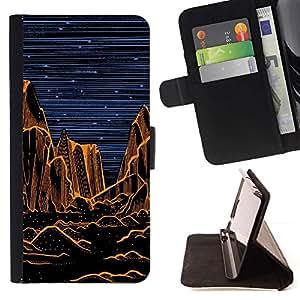 Momo Phone Case / Flip Funda de Cuero Case Cover - Grand Desert Noche Pintura Naranja - Motorola Moto E ( 1st Generation )