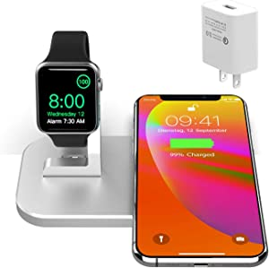 2 in 1 Metal iPhone iwatch Charging Station,Wireless Charger for iPhone12/12 Mini/12 Pro Max/11/11pro/X/Xs/Xs MAX/8 Plus/8,Charging Stand for iWatch6/5/4/3/2(with 2A Adapter,NO iWatch Cable)(Silver)