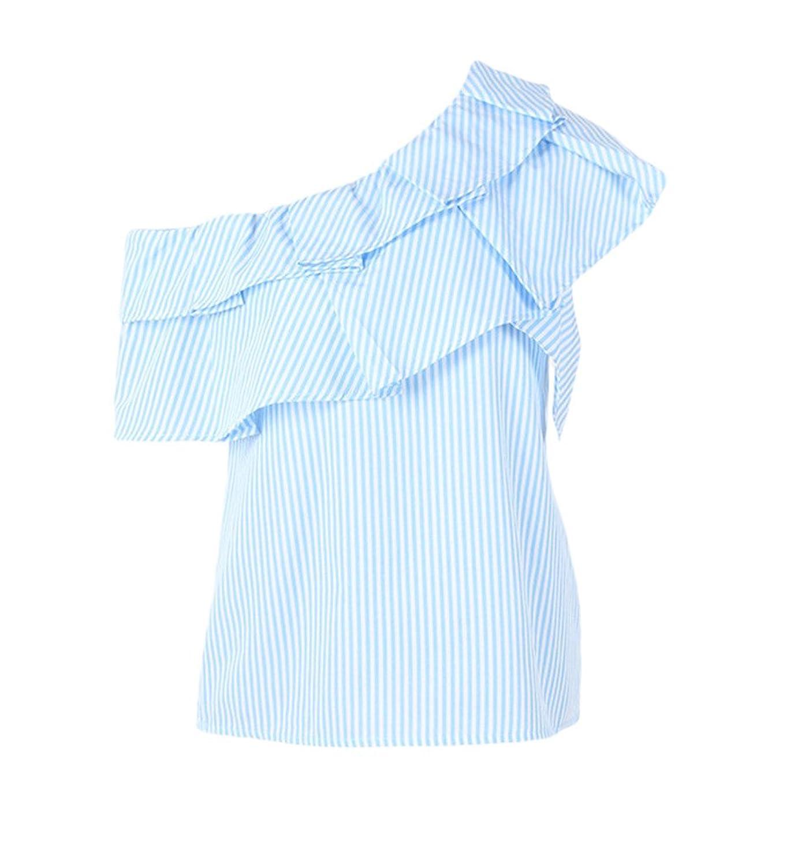 812ce82e078f68 Smile YKK One-Shoulder Gestreift Sommer Damen Kurzarm Shirt/T-shirts /Oberteil