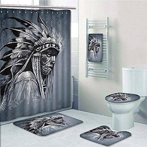 Nalahome 5-piece Bathroom Set-Includes Shower Curtain Liner,Native Tribe Chief Head with s Style Art Grey Black WhiteDecorate the bathroom(Large size) durable modeling