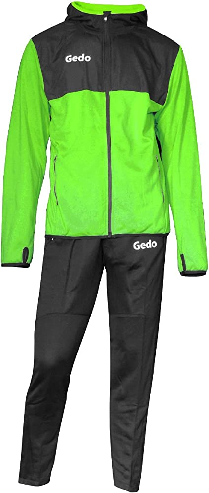 Gedo LF131408 Chándal técnico para Entrenamiento, Negro-Verde Fluo ...