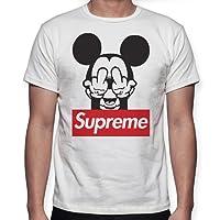 Beimpress T-Shirt Maglia Supreme Mouse Logo - Replica - Uomo Donna Unisex - Bianca o Nera