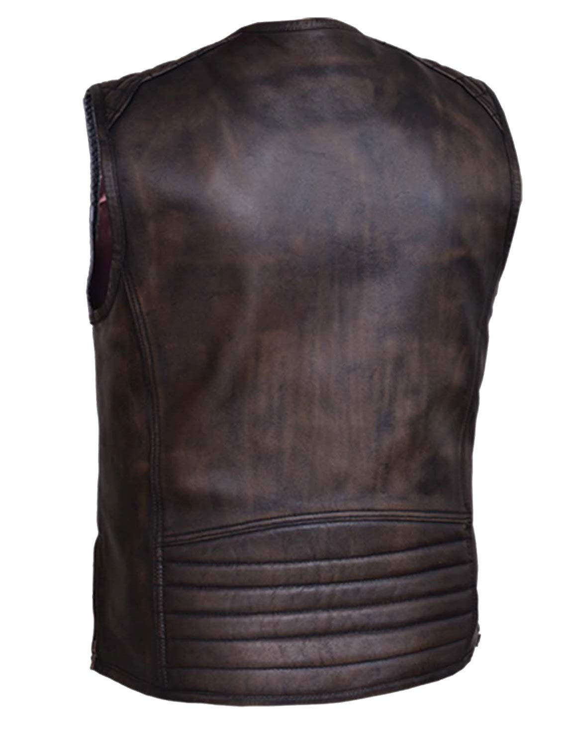 Mens Motorcycle Retro Brown Collarless Closeout price Leather Vest kidney padding back protector S