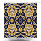 Waterproof Shower Curtains Zellige Tile Moroccan Seamless Pattern Razil Moorish Background Islamic Texture 422291905 Polyester Bathroom Shower Curtain Set With Hooks