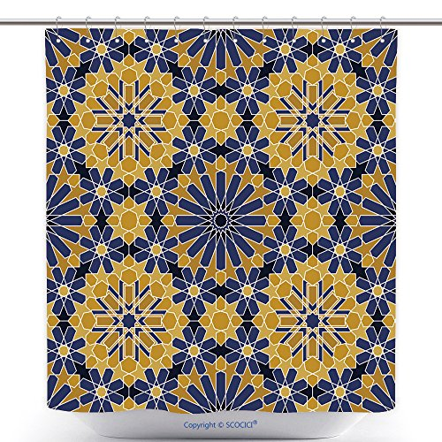 vanfan-Cool Shower Curtains Zellige Tile Moroccan Seamless Pattern Razil Moorish Background Islamic Texture Polyester Bathroom Shower Curtain Set With Hooks(72 x 96 inches) by vanfan