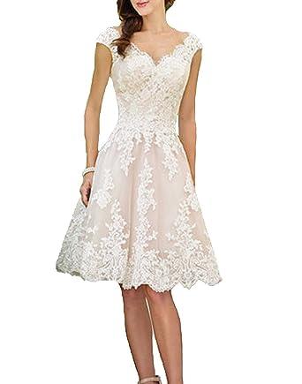 ea376fc7b4322c Cloverbridal Hochzeitskleider Für Damen Weiß Standesamt Kurz Tüll Spitze  Tiefer Rücken A Linie Champagner Brautkleider: Amazon.de: Bekleidung