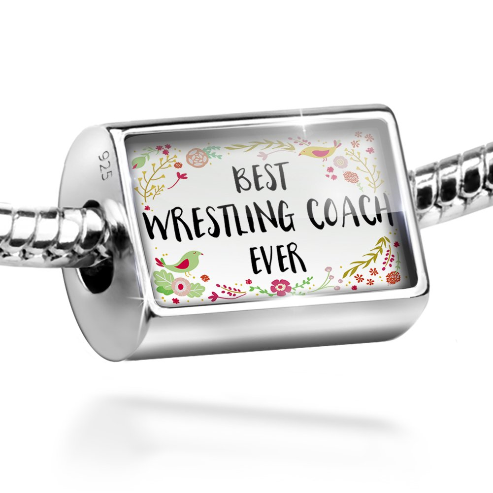 Sterling Silver Bead Happy Floral Border Wrestling Coach Charm by NEONBLOND