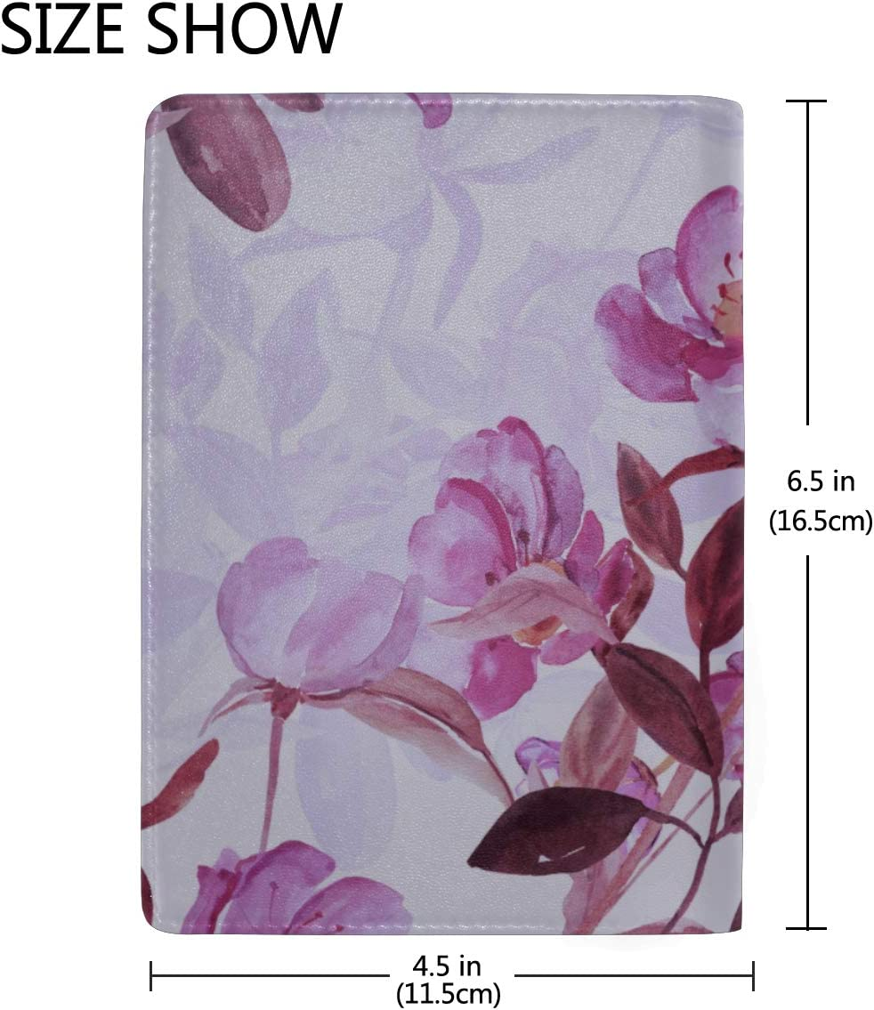Orchid Flower Watercolor Painting Blocking Print Passport Holder Cover Case Travel Luggage Passport Wallet Card Holder Made With Leather For Men Women Kids Family