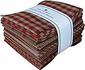 "Red Tan Beige Homespun Fabric Checks Stripes Fat Quarter (12 pk) Bundle 100% Cotton 18"" X 22"""