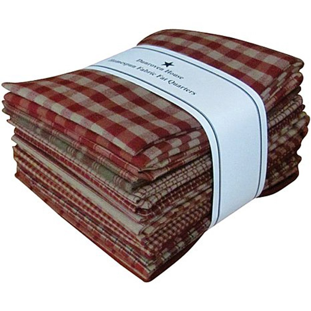 Red Tan Beige Homespun Fabric Checks Stripes Fat Quarter (12 pk) Bundle 100% Cotton 18'' X 22''