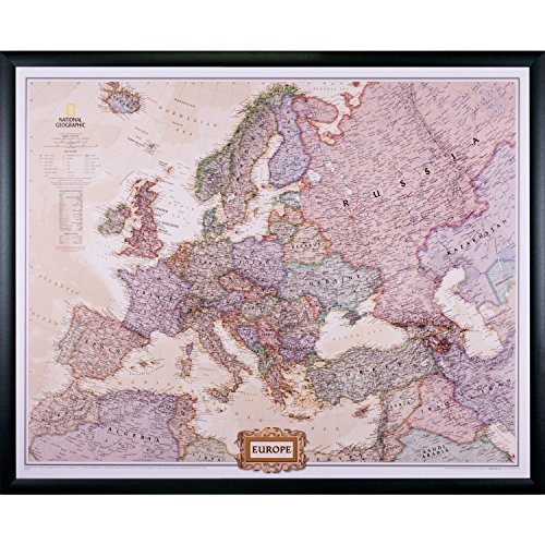 - Craig Frames Wayfarer, Executive Europe Push Pin Travel Map, Black Frame and Pins, 24 x 30 Inch