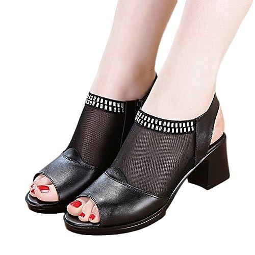 Las Mujeres de Malla Sandalias de Dedo del pie de los Botines Casuales Bloque Grueso tacón Lado Cremallera Zapatos de Vestir: Amazon.es: Zapatos y ...
