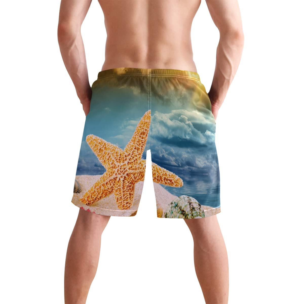 WIHVE Mens Swim Trunks Sea Star and Colorful Shells Quick Dry Beach Board Short with Mesh Lining