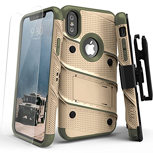 iPhone X Case - Zizo [Bolt Series] with Screen Protector, Kickstand [12 ft. Military Grade Drop Tested] Holster Belt Clip (Desert Tan/Camo Green)