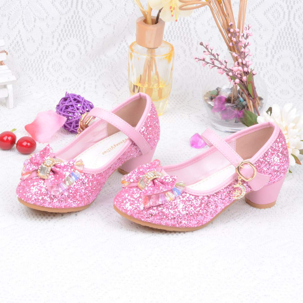 Jarsh Baby Girl Shoes Toddler Pearl Crystal Bling Bowknot Non-Slip Princess Soft Sole Sandals
