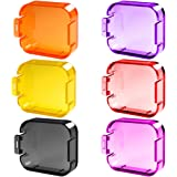 6 Pack Diving Lens Filters for GoPro Hero 5, FineGood Color Correction Compensation Filters for Underwater Video Photography Filming for Hero5 Sport Action Camera - Red Yellow Purple Pink Orange Grey