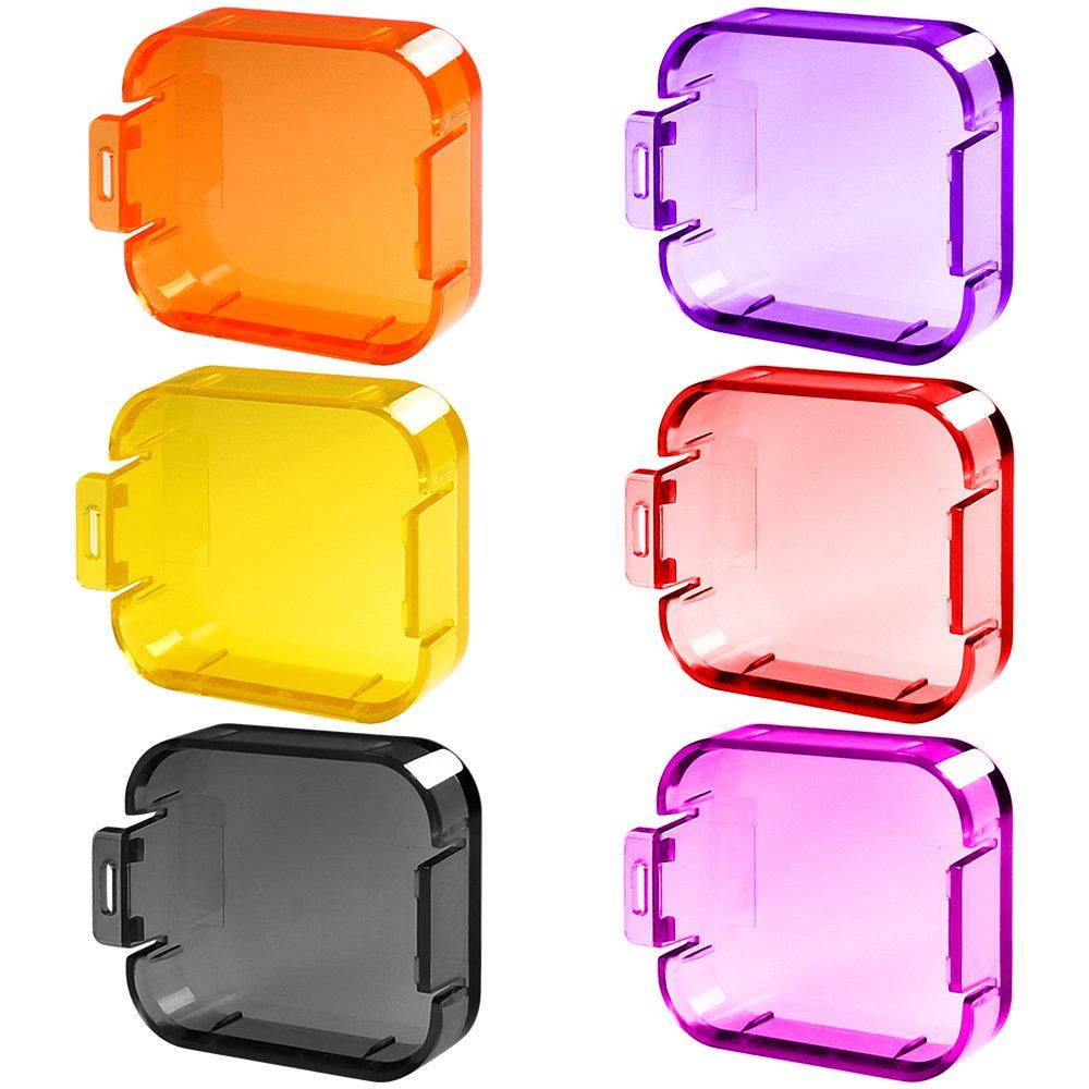 Paquete de 6 filtros de lentes de buceo para GoPro Hero 5 / 6, filtros de compensació n de correcció n de color FineGood para video submarino para cá mara de acció n deportiva Hero 5 Hero 6 FG-hero5_filters