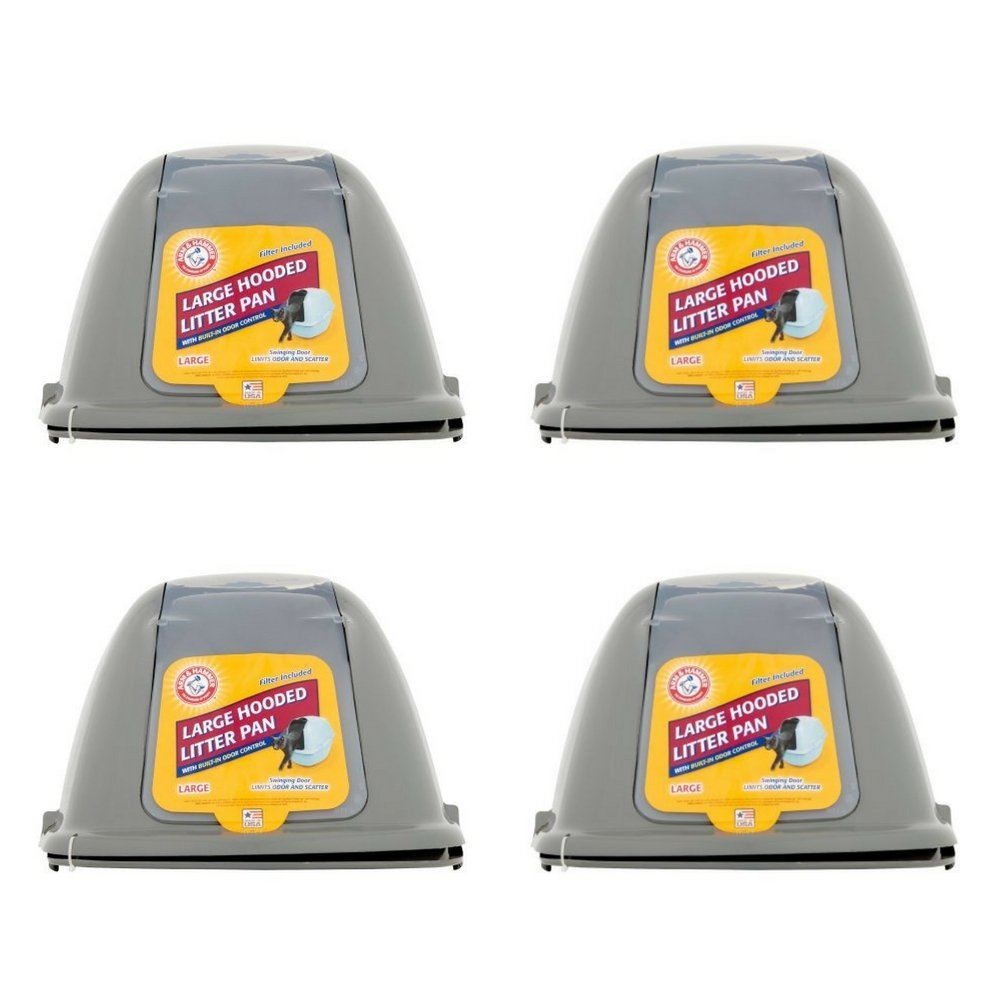 Arm & Hammer Hooded Cat Pan/Litter Box, Large, Pearl Ash Blue (4 pack)