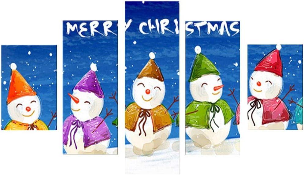 Amazon Com Hsada 5 Piece Christmas Wall Decor Multi Panel Canvas Art Santa Tree Snowman Balls Decoration Paintings On For Living Room Bedroom Home Decorations A Sports Outdoors