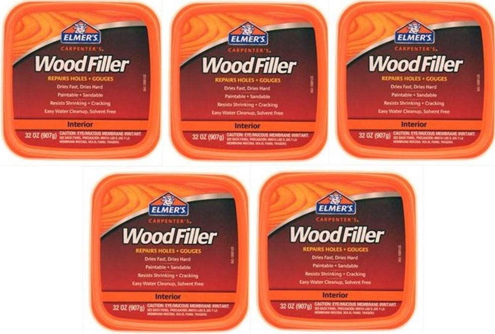 Elmer's E842L Carpenter's Interior Wood Filler; 32 Ounce; Ideal for Repairing Holes, Dents, Scratches, Gouges and Defects On Any Wood, Wallboard, Molding or Painted Surface; Pack of 5