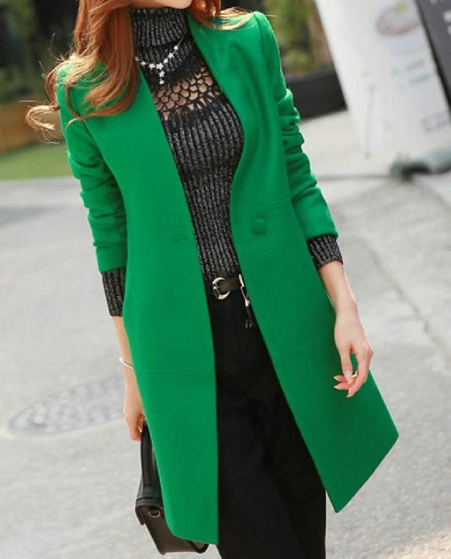 YUNY Women Button Front Knee Length Side Waist Pockets Pea Coat Green S