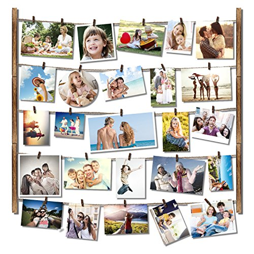 RooLee Hanging Picture Frame - Wood Picture Frame Collage for Wall Decor by Multi Photo Display 29'' x 26'' with 30 Clips - Vertical or Horizontal Display(Torched - Wall 26' Hanging