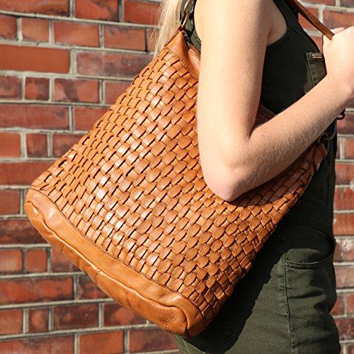 BACCINI Borse a secchiello ROSA - borsa a spalla - Hobo bag vera pelle marrone
