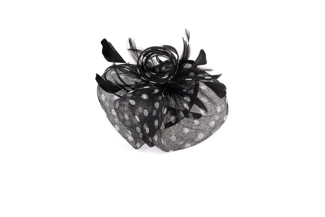 By Summer BYSUMMER Charming Fascintor Headband Cocktail Tea Party Derby Wedding Headwear (Black/Dot)
