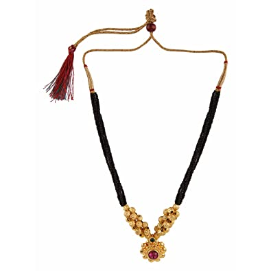 6504e42ffc744 Archi Collection Ethnic Traditional Gold Plated Thushi Black Bead ...