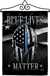 Angeleno Heritage Blue Live Matter Garden Flag Set Wall Hanger Armed Forces Police Cop Law Enforcement Sheriff Officer Line Support House Decoration Banner Small Yard Gift Double-Sided, Made in USA