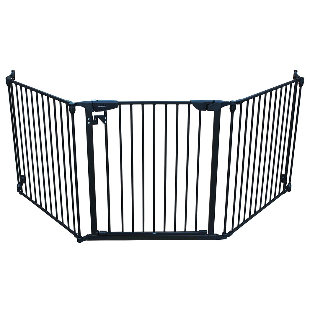 Cardinal Gates XpandaGate, Black: Baby Gate for Stairs, Doorways, and Hallways | The Width is 100 inches for Extra Wide Openings, Works Well as a Indoor Pet Fence & Extensions are Available
