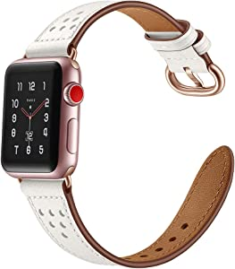 Watch Bands Compatible for Apple Watch 38mm 40mm 42mm 44mm,AMANECER 2019 Dressy Classic Wristbands Genuine Leather Bands Compatible for iWatch Series 4/Series 3/Series 2/Series 1(White, 42mm44mm)