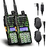 Baofeng - 2PCS UV-5XTP 8W Dual Display VHF136-174MHz UHF400-520MHz Handheld Two-Way Radio Standby Transceiver Walkie Talkie+Dual PTT Mic Speaker+Programming Cable