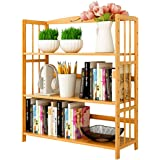 Bamboo Book Shelf Bookcase Books Shelves Storage Display Rack Organizer 3 Tier Adjustable Height for Bedroom Living Room…