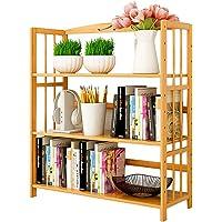 Bamboo Book Shelf Bookcase Books Shelves Storage Display Rack Organizer 3 Tier Adjustable Height for Bedroom Living Room…
