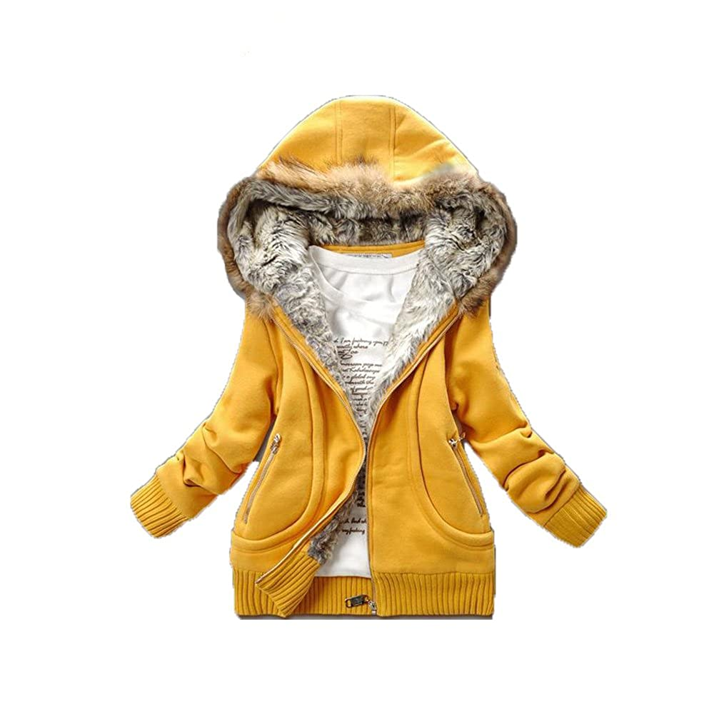women fur collar hooded winter keep warm hoodies top Jacket coat casual outwear