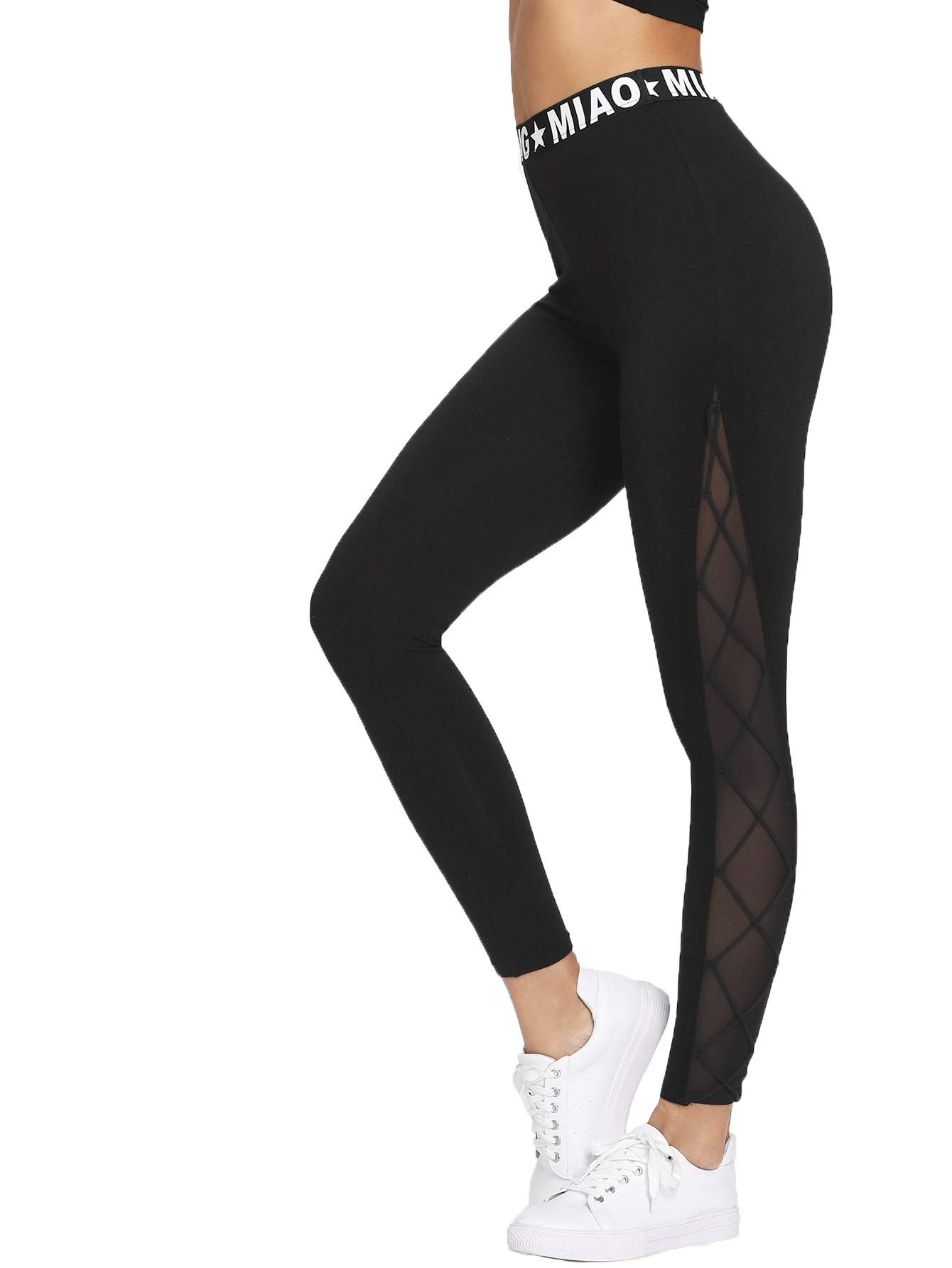 SweatyRocks Women's Mesh Panel Side High Waist Leggings Skinny Workout Yoga Pants Black S