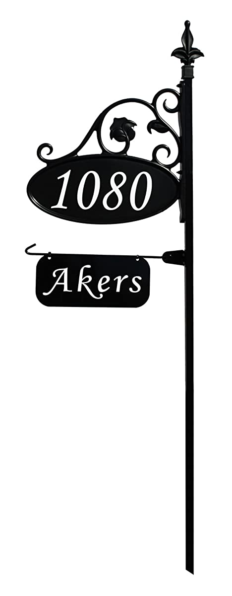 """Address America Park Place Oval Reflective 911 Home Address Sign for Yard with Name Rider on Garden Flag Post - Custom Made Address Plaque with Name - Wrought Iron Look Exclusively (48"""" Post)"""